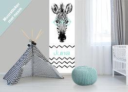 Muursticker paneel: Zebra met naam