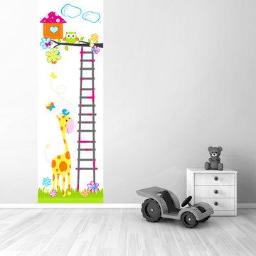 Muursticker babykamer paneel: Boom met vogel, uil, giraf