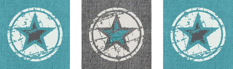 MJuursticker set 3 luik sterren turquoise grijs