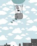 muursticker babykamer mint grijs luchtballon detail