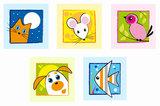 Muursticker schilderij dieren_
