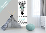 Muursticker paneel: Zebra met naam_