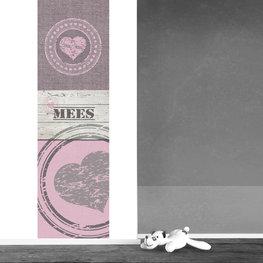 Muursticker paneel: Harten roze