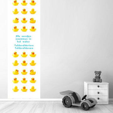 Muursticker babykamer paneel: eendjes met tekst