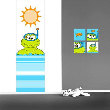Muursticker babykamer paneel: Kikker met duikbril