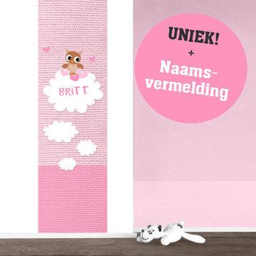 Muursticker babykamer paneel: Baby uil roze