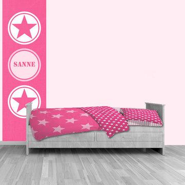 Muursticker paneel: Ster roze