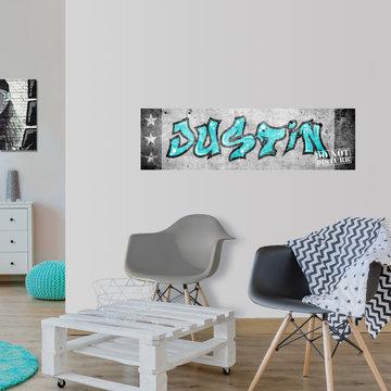 Mini muursticker paneel: Graffiti met naam