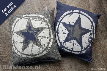 Kussenhoes set ster blauw grijs