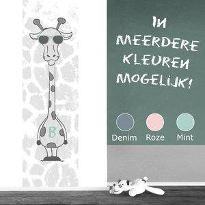 Muursticker babykamer giraf mint grijs