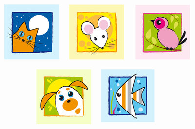 Muursticker schilderij dieren