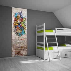 Muursticker paneel graffiti stoer kinderkamer idee - Idee deco slaapkamer tiener jongen ...