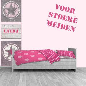 Muursticker paneel roze ster stoer meidenkamer idee - Idee deco slaapkamer tiener jongen ...
