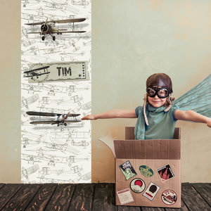 Muursticker vliegtuigen met naam retro kinderkamer / jongenskamer idee