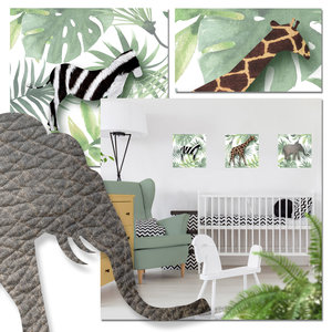 Muursticker babykamer jungledieren botanisch jungle