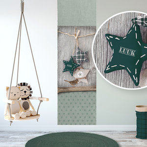 Muursticker babykamer groen early dew