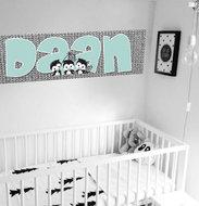 Muursticker babykamer zwart wit mint