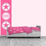 Muursticker roze ster met naam