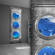 Sticker paneel kinderkamer onderwaterwereld  dolfijnen