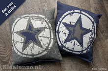 Kussen set ster blauw grijs